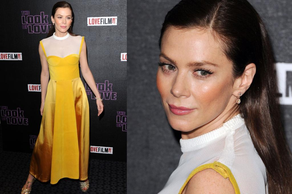 THE BAD: Anna Friel's vintage Trager Delaney dress goes like this. First glance: ooh yellow, fun. Second glance: Weird length. Third glance: Is that high-neck mesh. Fourth glance: Is her strap velcroed together. Fifth glance: Why are her cheeks the colour of Cheetos?