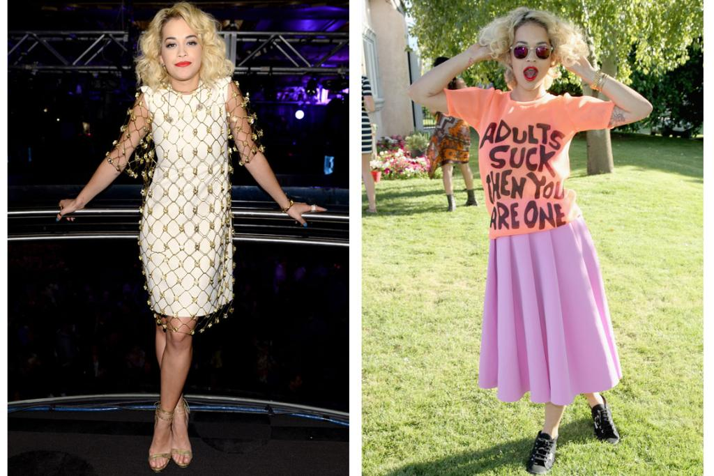 THE GOOD & BAD: What a difference a few days make - to the left, Rita Ora looks classy but still quirky enough in an ivory dress with a gold netted overlay by Chloe, and to the right she flunks in a Jeremy Scott tee and a JW Anderson skirt. My biggest issue with this is that a baggy top plopped over a pleated skirt like that is very unflattering. Also, I really really would love if Rita changed up her hair colour - it currently looks like it would make the sound of autumn leaves when touched.