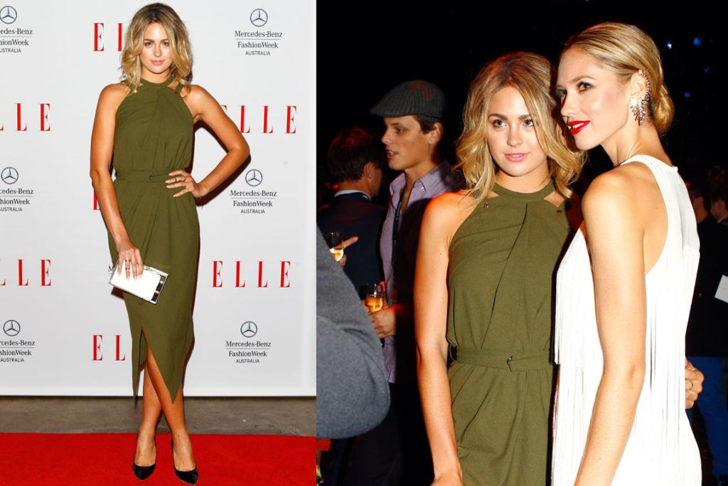 THE GOOD: Australian beauty queen turned TV personality Jesinta Campbell knocks it out the park in this gorgeous olive dress by Camilla & Marc. This look would have worked 20 years ago and will be in style in another 20 years - timeless.