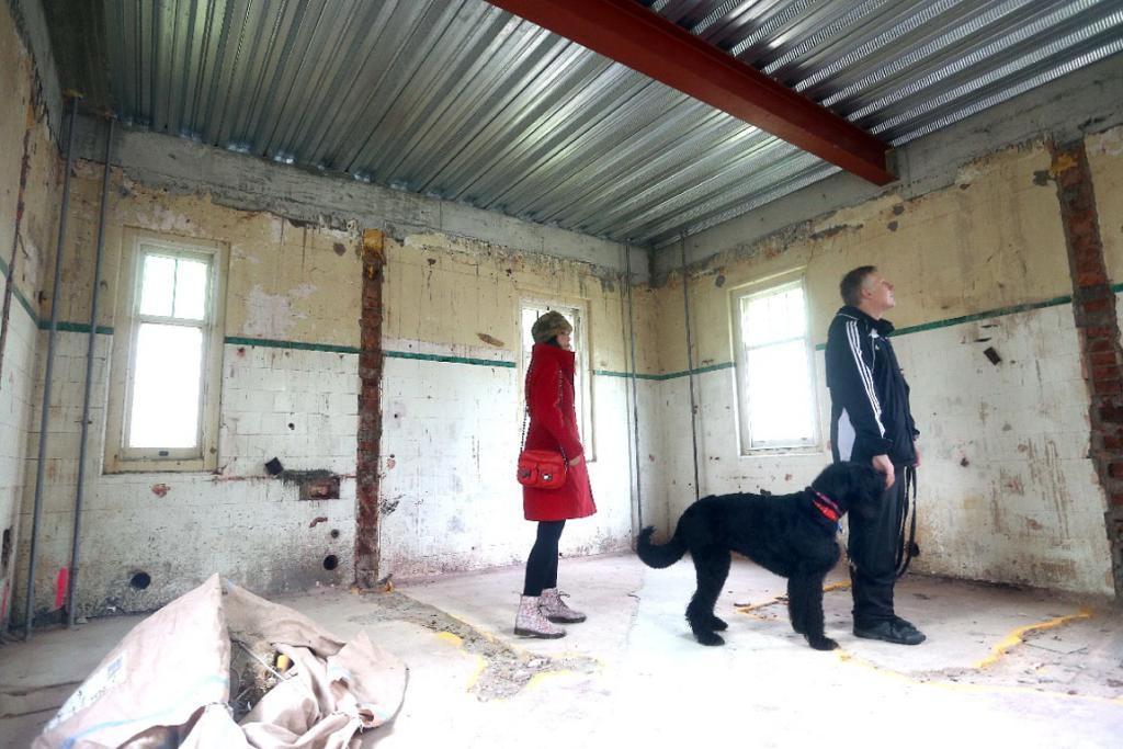 Alice and Peter Watts brought their dog Pepper to check out the SPCA's future home.