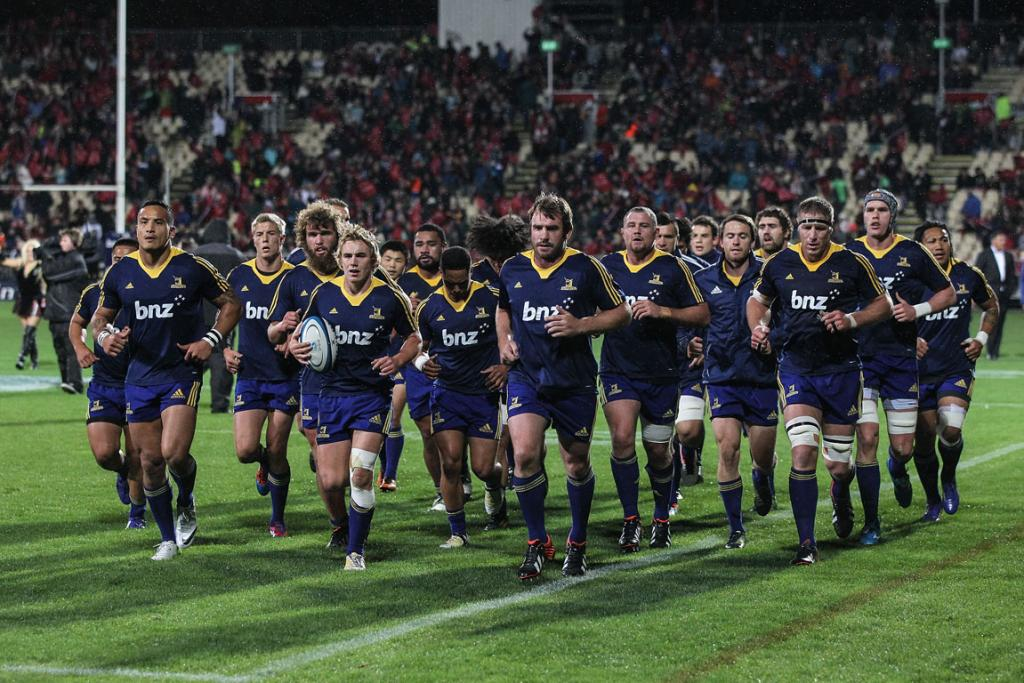 The Highlanders warm up at AMI Stadium in Christchurch ahead of their clash with the Crusaders.