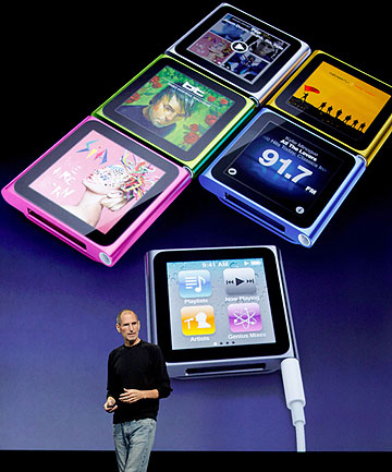 SMOOTH OPERATOR: Steve Jobs announcing upgrades to the iPod Nano, iPod Shuffle, iPod Touch, and iTunes in September, 2010.