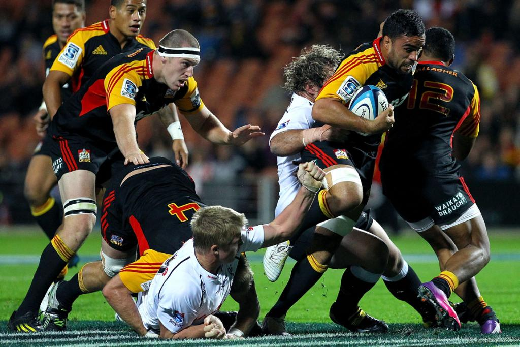 Liam Messam helps carry the load against the Sharks in Hamilton.