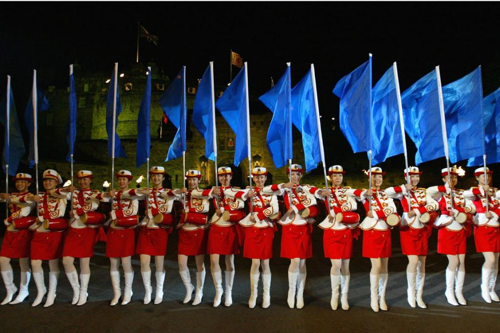 The Military Band of The People's Liberation Army of China perform at Edinburgh Military Tattoo at Edinburgh Castle.