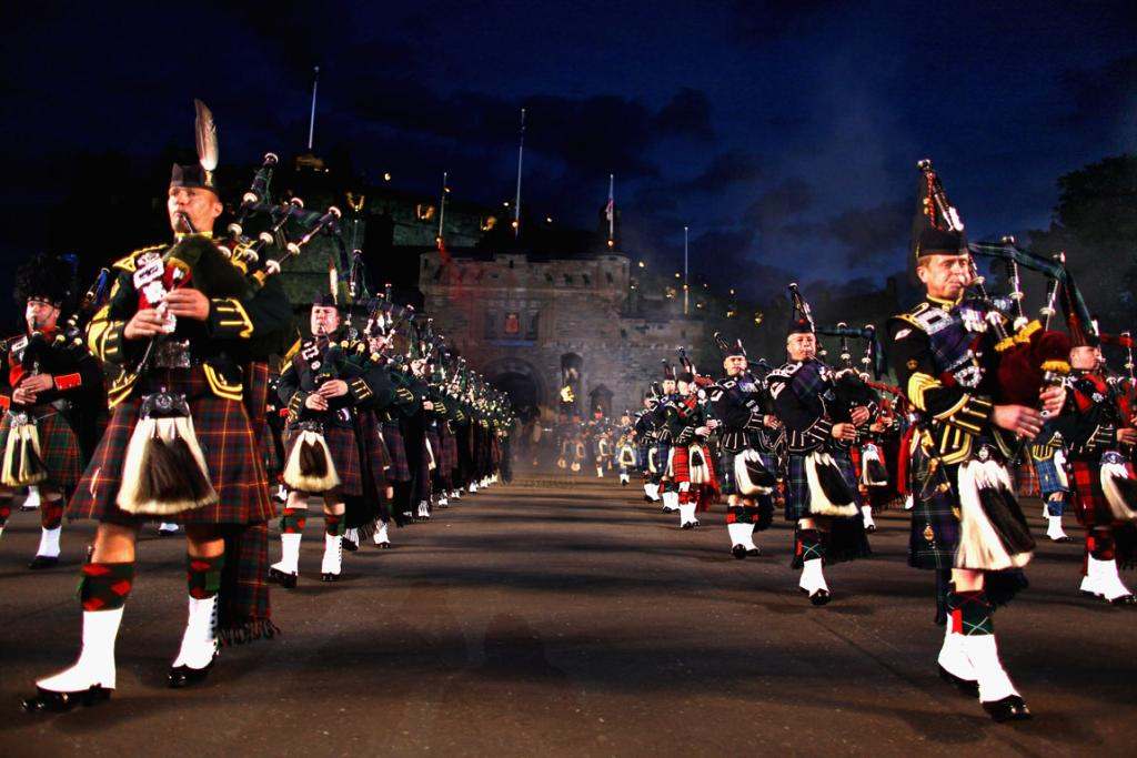 The Massed Pipes and Drums perform during a dress rehearsal of the Military Tattoo.