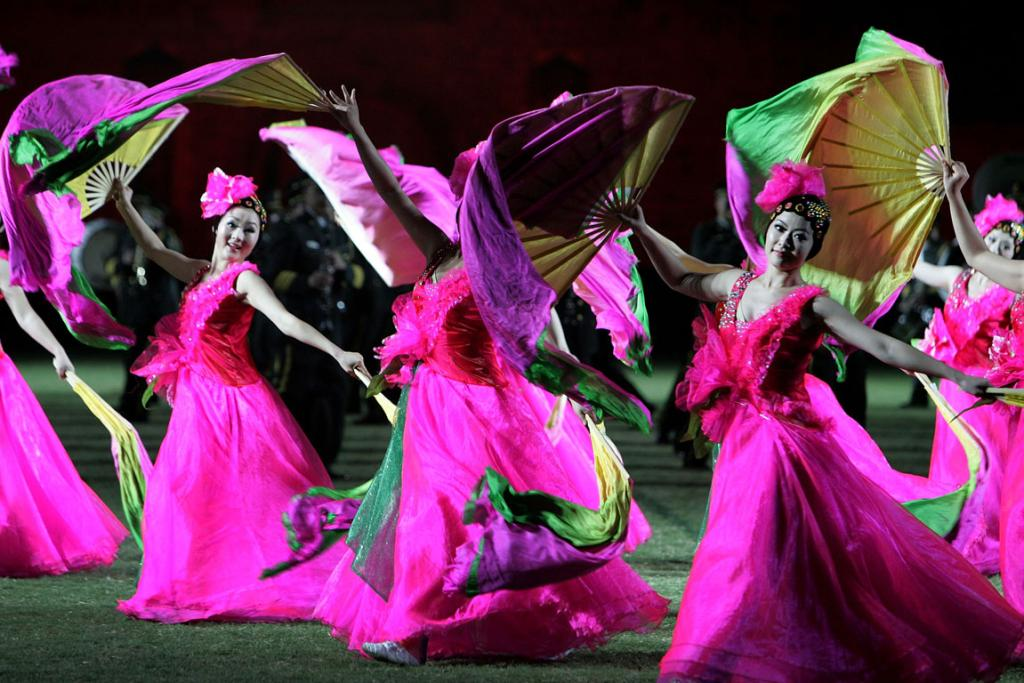 Dancers from China perform during the last dress rehearsal for the Edinburgh Military Tattoo.