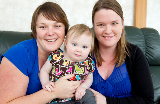 CLOSE-KNIT TRIO: Fern Wooldridge Hyett, right, donated part of her liver to her niece Dylan Consolo, who is held by Dylan's mother, Emma Wooldridge Hyett.