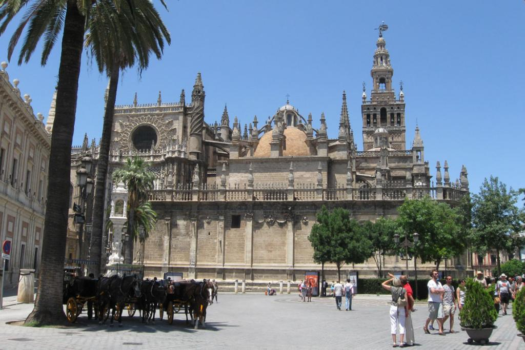 City centrepiece: The centrepiece of Seville's old city, the Cathedral de Santa Maria houses the tomb of Christopher Columbus.