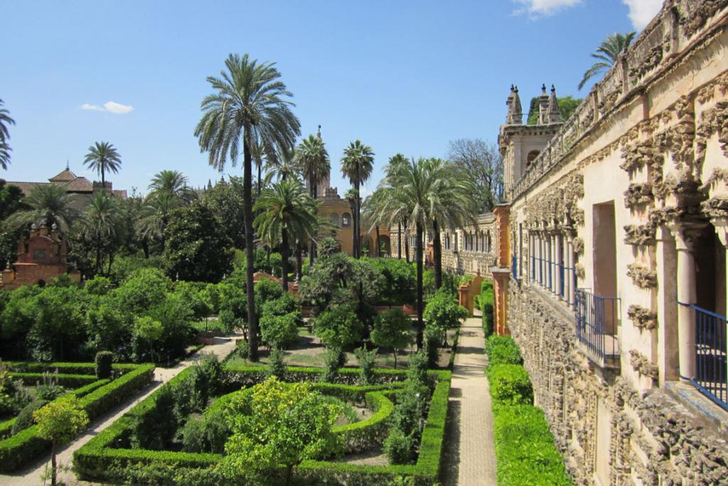 Well kept: The extensive gardens of the Alcazar in Seville feature formal hedging, palms and citrus.