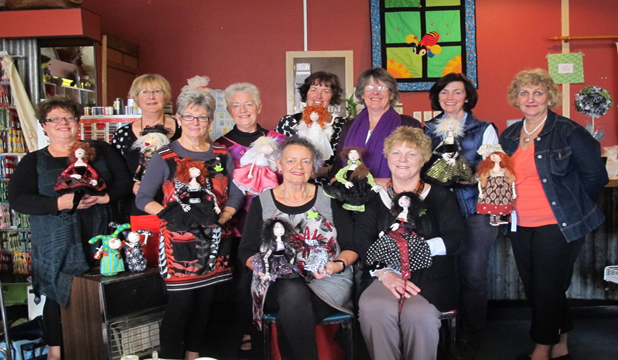WITH ATTITUDE:  The sewing group who call themselves Slightly Weathered Ladies, including their Taihape hostess Sue Woollaston, Pauline Baddeley of Quilted Gumboot, and fabric doll designer Jill Maas.