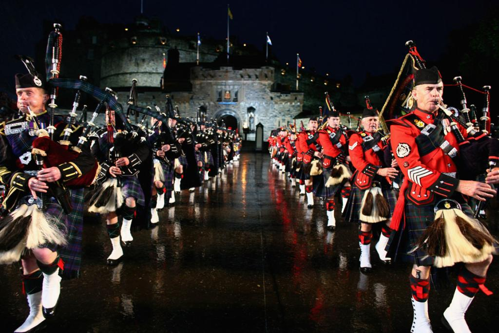 The Massed Pipes and Drums perform during the Edinburgh Military Tattoo on the esplanade of Edinburgh Castle.
