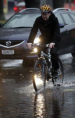 Cycling in flooded streets