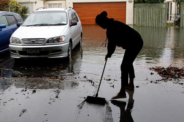 Cleaning up the floodwater