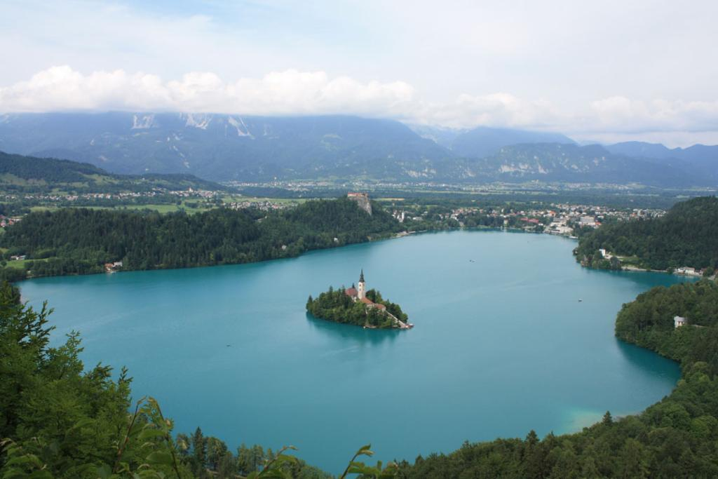 An overview of Lake Bled, island, castle and town in Slovenia.