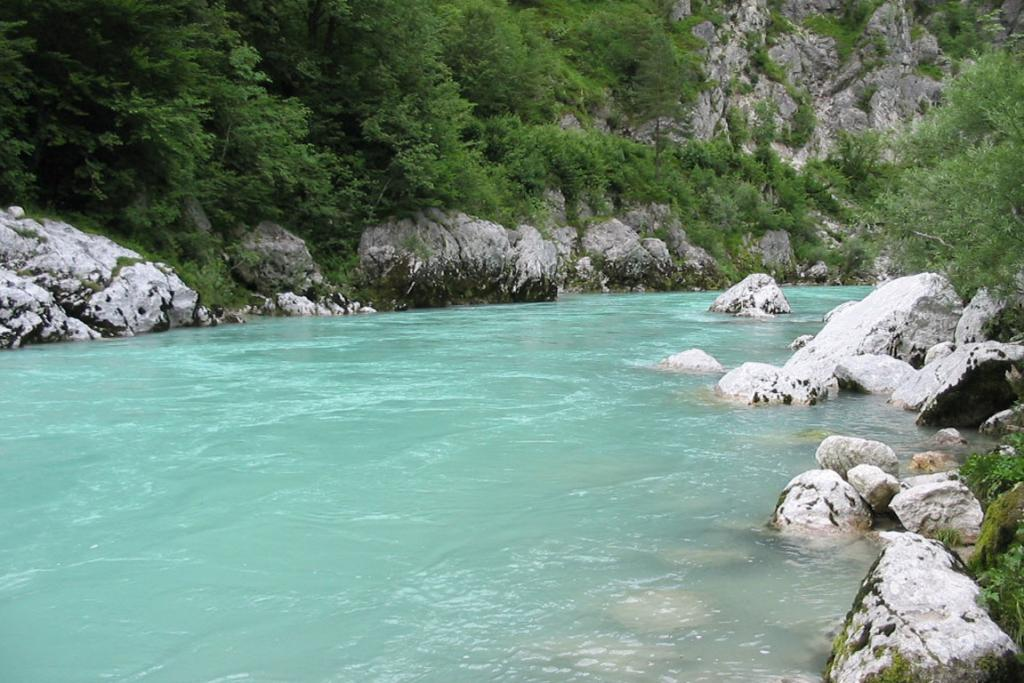 The piercing sky- blue-bordering-on-green - or is it turquoise? - colour of the water of the Soca River.