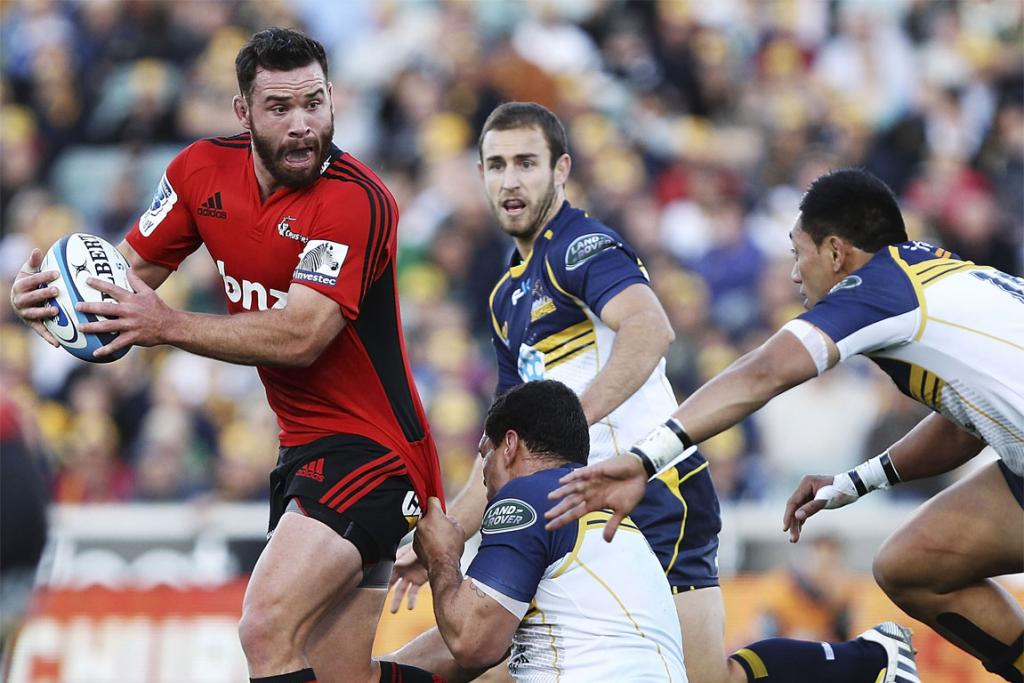Ryan Crotty on the charge against the Brumbies.