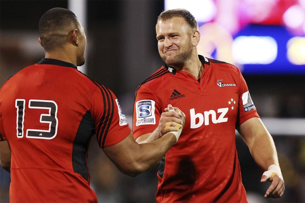 Robbie Fruean (left) and Joe Moody celebrate after the Crusaders win over the Brumbies in Canberra.