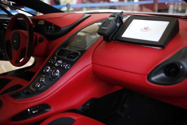 The inside of an Aston Martin car used by Dubai police is seen at the Arabian Travel Market exhibition in Dubai.