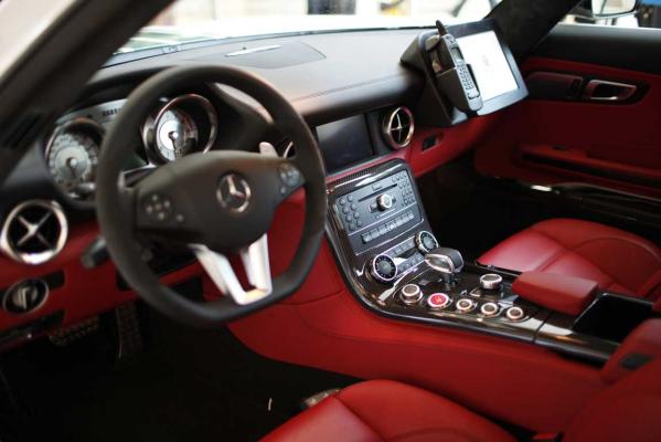 The inside of a Mercedes SLS AMG car used by Dubai police is seen at the Arabian Travel Market exhibition in Dubai.