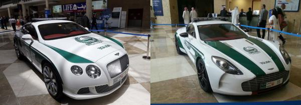 Dubai police display their new Bentley Continental and Aston Martin cars.