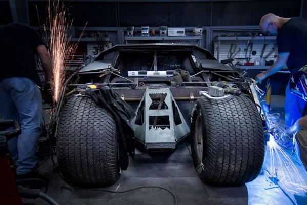 A scale replica of Batman's Tumbler batmobile under construction for the 2013 Gumball Rally.