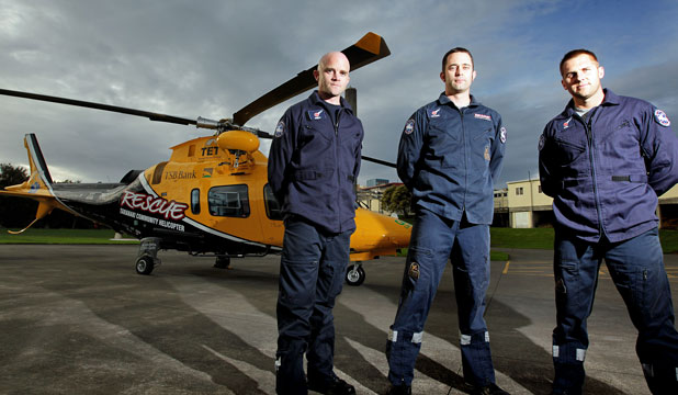 TRUST, TRAINING, TEAMWORK: The Taranaki Community Rescue Helicopter's marine team, from left, Andy Cronin, Jayden Strickland and Phil Dwyer received New Zealand's highest search and rescue award last night.