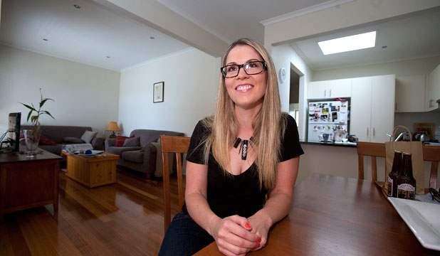 PROUD HOMEOWNER: While excited by her purchase, Angie Deegan says signing up to a mortgage did cause some nervous moments.
