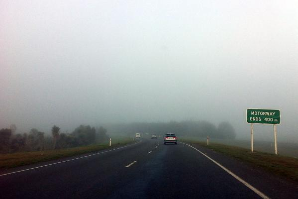 Morning fog on the northern motorway