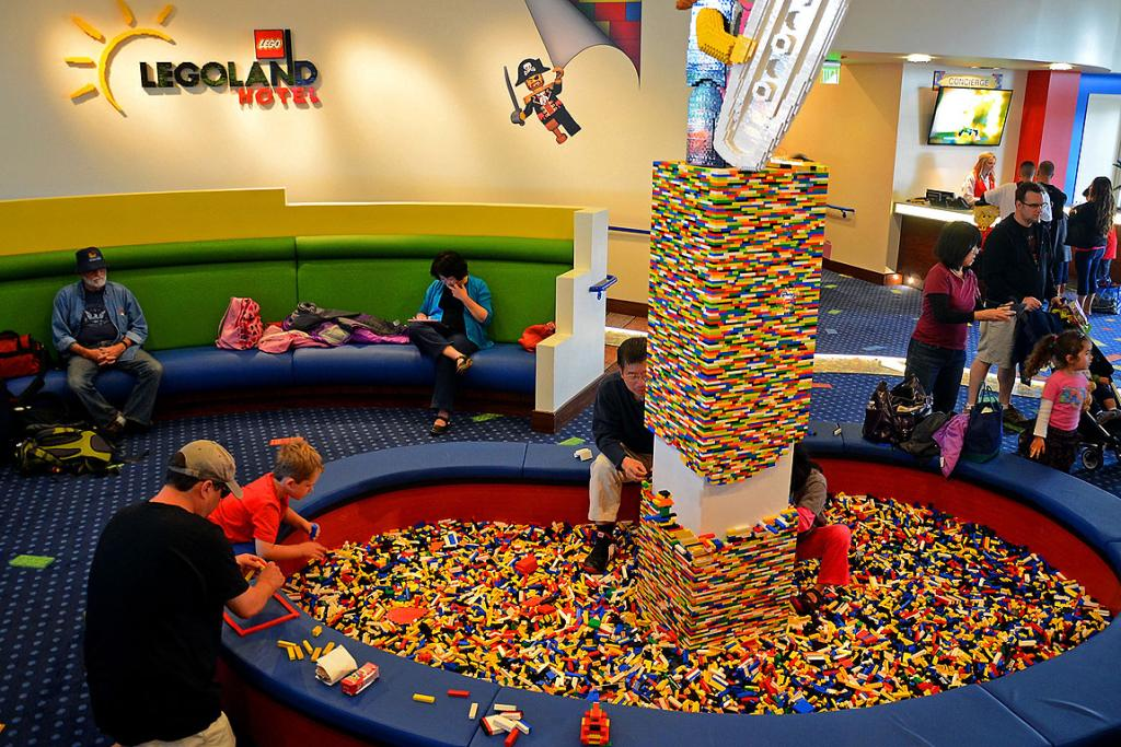 The Legoland Hotel's public spaces are dominated by kids' play areas and thousands of Lego bricks.