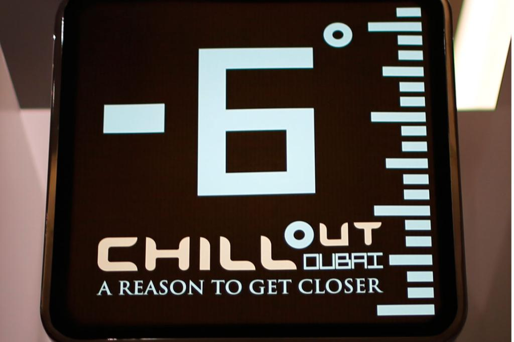 A display shows the temperature at Chillout cafe.
