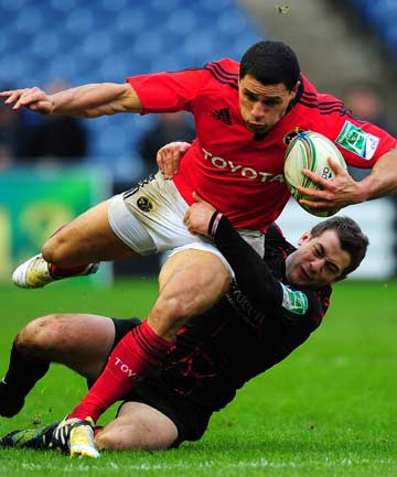 DONE AND DUSTED: Doug Howlett, the All Blacks' all-time try-scoring record holder here in action for Munster in January, announced his retirement from rugby, following shoulder surgery.