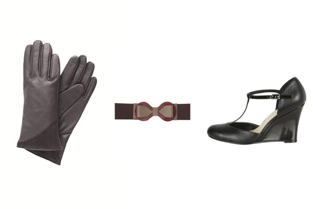 Emu leather gloves, $119.95, Max belt, $39, Farmers 'She's a Lady' Stacey Shoe, $79.99.