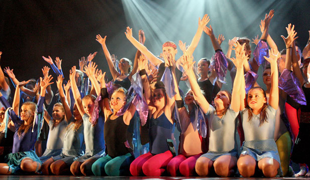 TA-DAAA: Southland Girls' High School pupils finish their performance during the Stage Challenge and J Rock event, held at the Civic Theatre last night.
