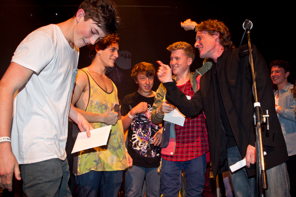 The boys from Oh Blok took out first prize at the 2013 Nelson Smokefree Rockquest at the Theatre Royal on Friday night. Kieran O'Connor, left, Louie Persico, Josh Baxter and Paddy Sanders. Event Producer Dan Kendrick, right.