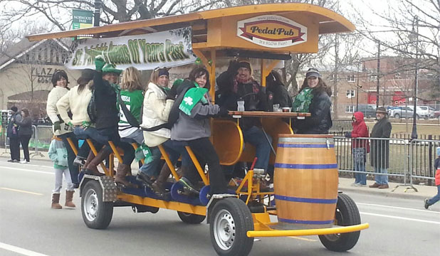 PARTY ON WHEELS: One of the Pedal Pubs in action.