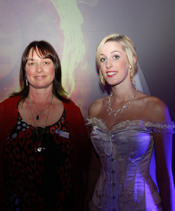 CAMPAIGN BEGINS: Organiser Terri Everett, left, and model Danielle Downer launched the Dream Maker Dream Wedding promotion at Riverside Community on Friday evening.