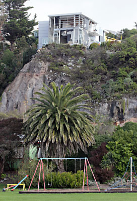 TEETERING: The unstable house above Main Rd in Redcliffs.