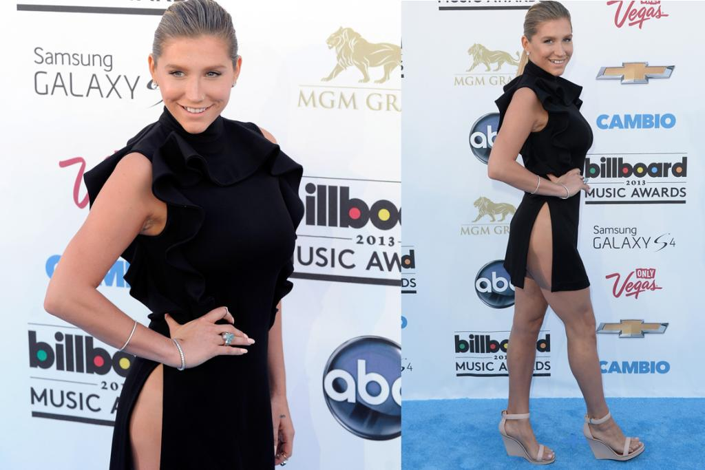 Ke$ha obeys the rule about not showing off cleavage and legs, but I'm not sure that high neck and those bib-sized ruffles make up for the fact that her side butt is visible for all the world to see in this Givenchy 'dress'. And you?