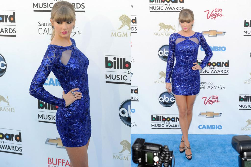 Taylor Swift can definitely rock a mini, she can definitely wear this blue, but why am I bored? The Zuhair Murad disco dress is definitely fun, but it's also a little dancing on ice.