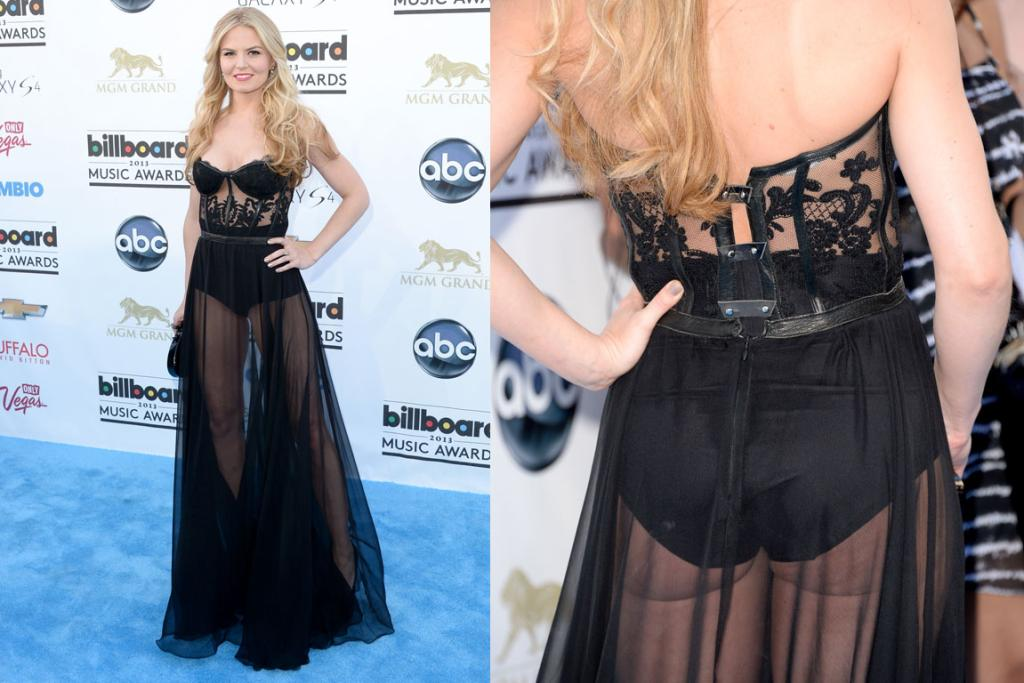 Jennifer Morrison's Kristian Aadnevik gown (well, let's be honest, it's some undies and netting) actually kind of works from the front. But from behind? Massive knicker-choice fail.