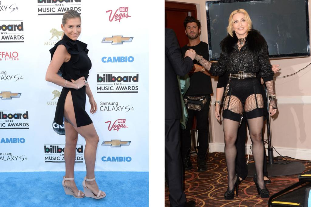 Ke$ha plays chicken with a gust of wind while Madonna continues her obsession with fishnet, and Givenchy's responsible for both of these fashion fails. (Check out the guy behind Madonna, his eyes describe exactly how we feel about this).