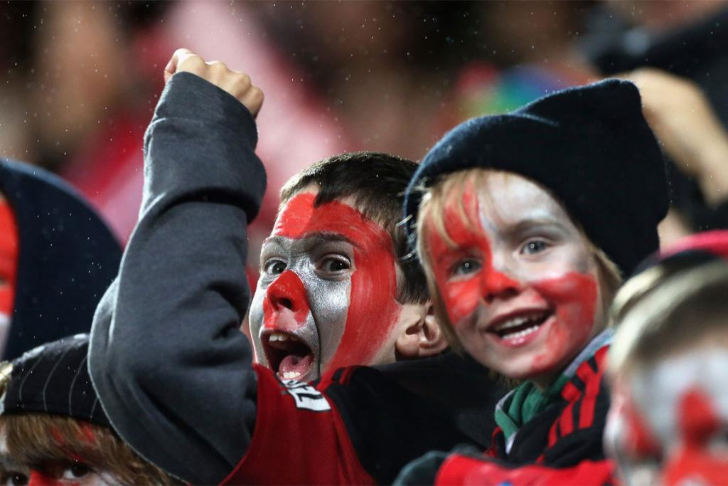 Crusaders fans show their support for the team in the clash against the Blues.