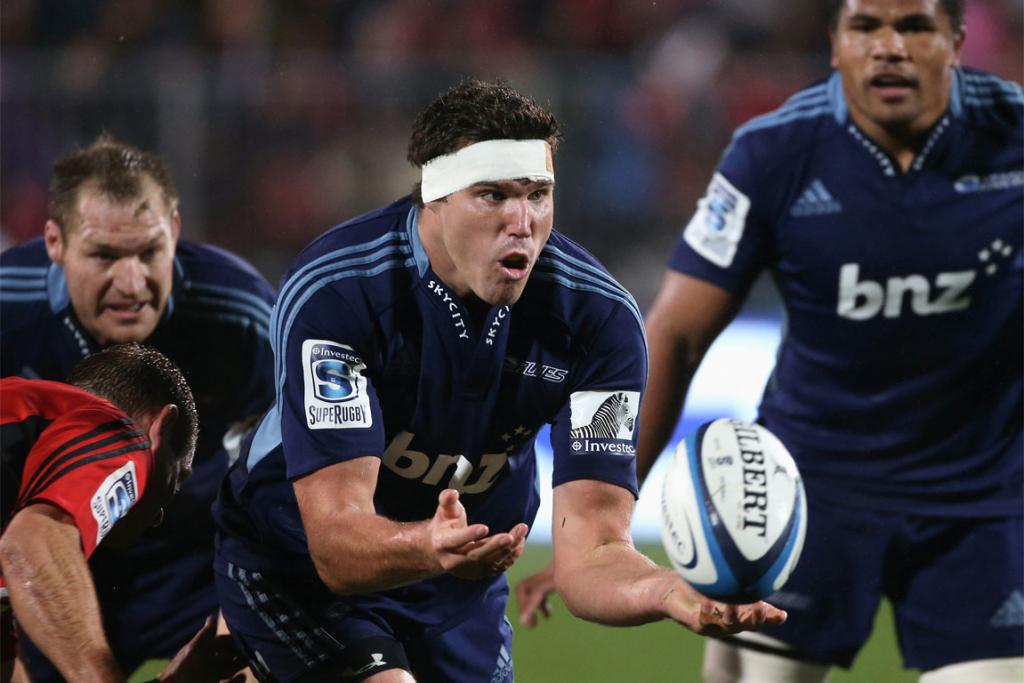 Culum Retallick makes a pass for the Blues against the Crusaders.