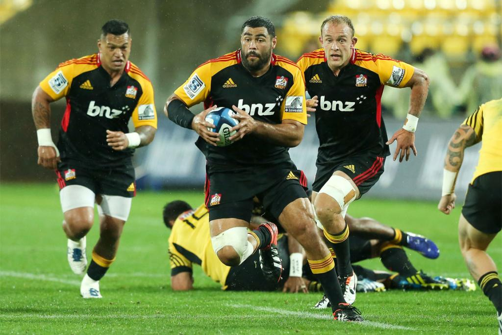 Prop Ben Afeaki charges into the open for the Chiefs.