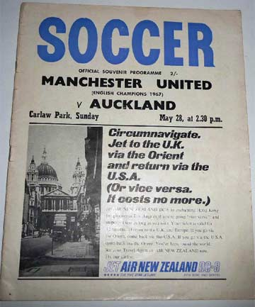 'A BIG ADVENTURE': The programme for Manchester United's 1967 tour of New Zealand.