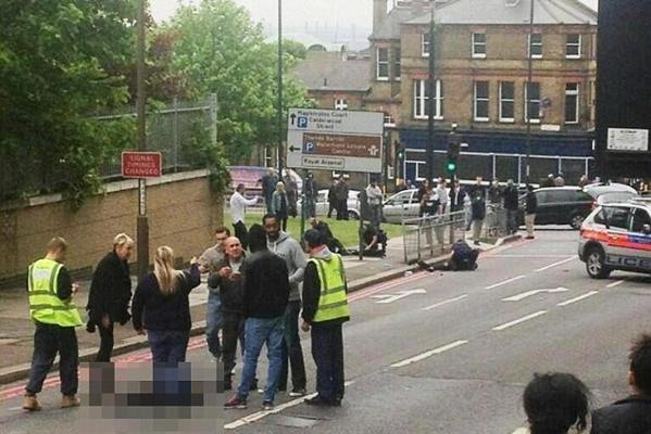 The scene following the attack just a few blocks from a military training barracks in southeast London.