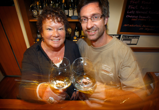 London success: Lawson's Dry Hills owner Barbara Lawson and winemaker Marcus Wright celebrate the award of three trophies at the International Wine Challenge.