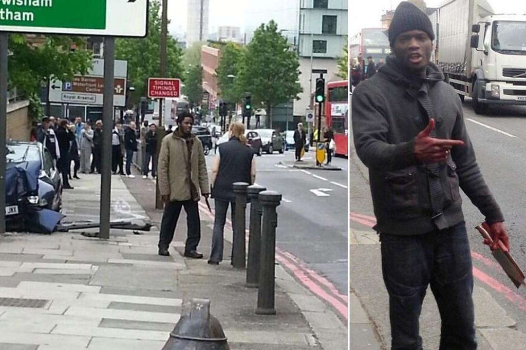 "Footage showing two men with machetes and meat cleavers following the attack. Pictured left, mother of two Ingrid Loyau-Kennett confronts one of the men and tells him: ""It is only you versus many and you are going to lose."""