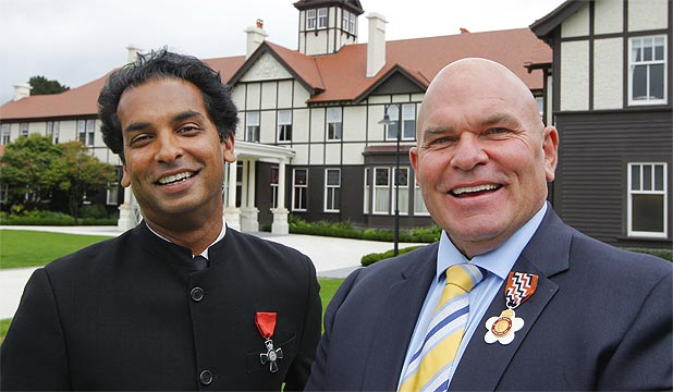 AWARDED: Jacob Rajan received the MNZM, left and Rodney Hide received the QSO in the investiture ceremony, Government House, Wellington.