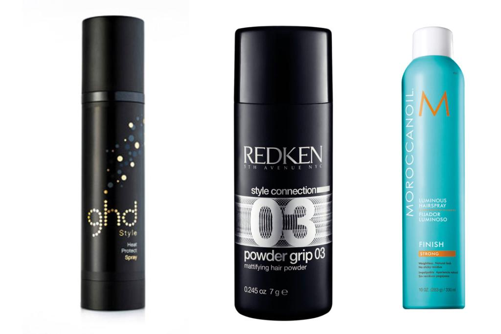 TOP TOOLS: GHD Heat Protect spray, $30; Redken powder grip, $33 and Moroccan Oil luminous hairspray, $45.